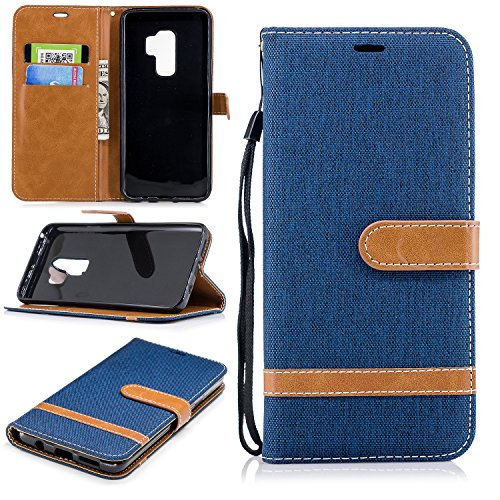 Galaxy S9 Plus Case, Samsung Galaxy S9 Plus Case, Easytop Kickstand Feature PU Leather Jean Flip Foldable Wallet Cover Case Shockproof Portective Shell with Hand Strap Credit Card Slot (Navy Blue)