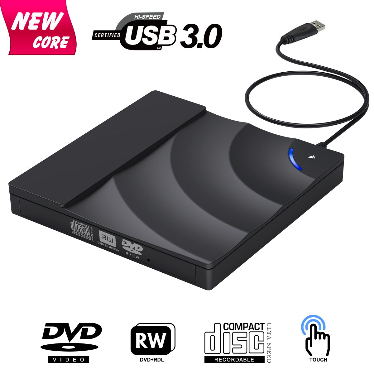 External CD Drive, BOSLISA Touch Control USB 3.0 CD/DVD+/-RW Burner Player, Optical Superdrive High Speed Data Transfer for Laptop MacBook Desktop Computer Compatable for Windows10 /8/7/XP/Mac OS by BOSLISA