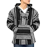 Classic Mexican Baja Pullover Hoodie, Unisex (Black XXL)