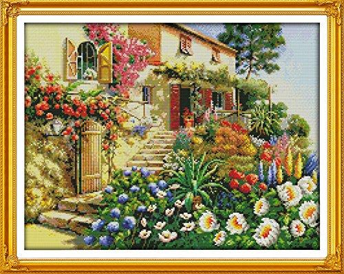 counted cross stitch garden villa
