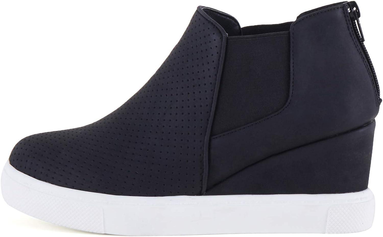 Stillieve Womens Platform Hidden Wedge Sneakers High Top Slip-on Elastic Band Fashion Zipper Booties Ankle Heels