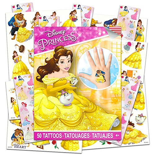 Disney Beauty and The Beast Party Favors Pack ~ Bundle with 50 Princess Belle Tattoos and 6 Sticker Sheets (Beauty and The Beast Party Supplies)