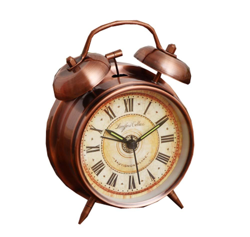 Alarm Clock Battery Power Night-light Loud Alarm Roman Character Copper Clock,4