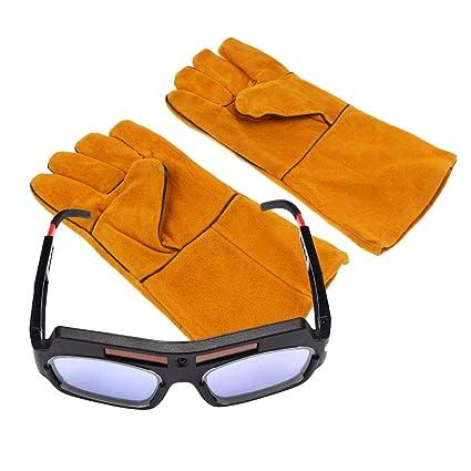 Homyl Gafas de Soldador con Guantes de Mano Cubiertas Multiusos Herramientas Manuales Eléctricas