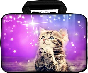 iColor 11 11.6 12.1-inch Laptop-Case Bag - Notebook Chromebook Case Ultrabook Bag Sleeve Computer Protective Cover Carrier Pouch (Purple/Cat)
