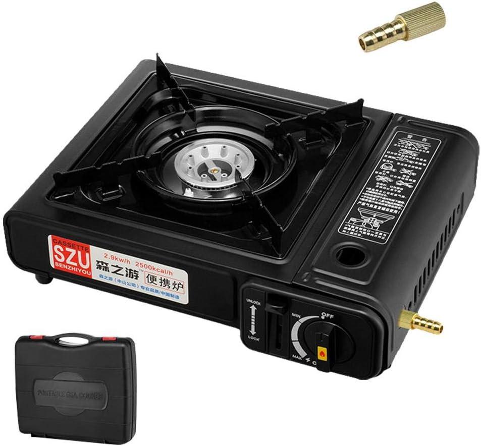 heresell Cuisini/ère /à gaz de Camping portatif cuisini/ère portative /à Cassette /à Double Usage pour cuisini/ère Coupe-Vent Sauvage pour Camping randonn/ée Voyage BBQ-34 26.5 10.5CM