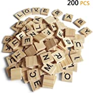 200PCS Scrabble Letters for Crafts - Wood Scrabble Tiles-DIY Wood Gift Decoration - Making Alphabet Coasters and Scrabble Cr