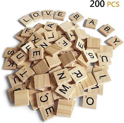 200 piezas de letras Scrabble para manualidades – madera Scrabble azulejos – DIY madera regalo decoración – hacer alfabeto posavasos y Scrabble Crossword Juego: Amazon.es: Juguetes y juegos