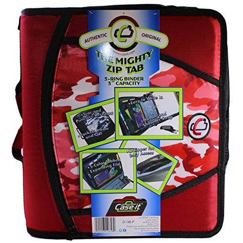 Case-it Mighty Zip Tab 3-Inch Zipper Binder, Printed Red, Design may vary (Camouflage or Geometric)