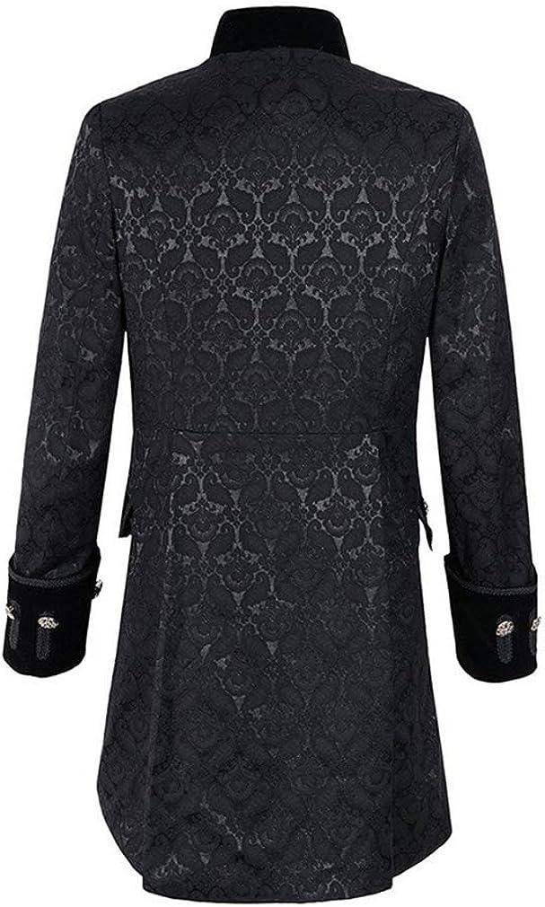 S-3Xl Colore Nero//Blu//Rosso Cappotto Steampunk Vintage Uomo Camicia Manica Lunga Collo Alto Colletto Maniche Lunghe Pure Colour Sezione Media Bottoni Taglia