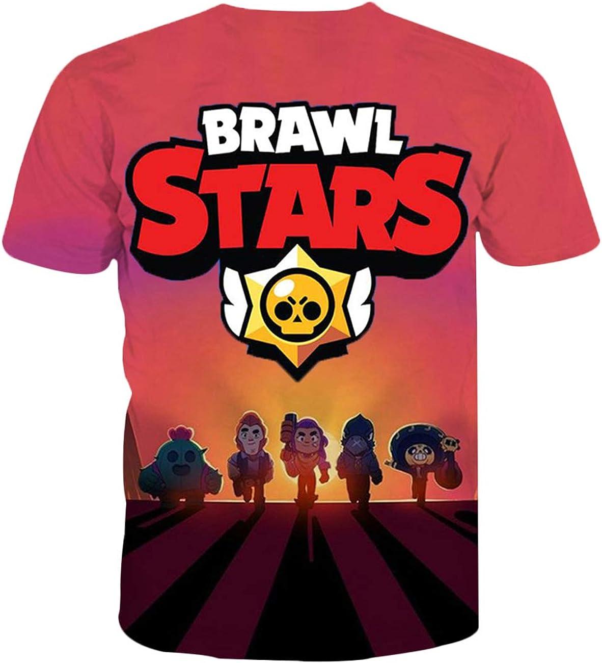 Uomo Maglietta Brawl Stars Maniche Corte Maglia con Stampa 3D Estate T-Shirt Tee Casuale Elegante Camicia Tops Camicetta Blusa Maglietta da Ragazzo Bambini