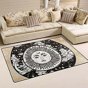 Ronda Cielo Nocturno con luna, sol dentro de área alfombra alfombra antideslizante alfombra de suelo para interiores (Doormats para decoración del hogar HDKS