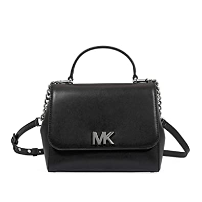 192196403958 MICHAEL Michael Kors Mott Medium Leather Satchel (Black)  Handbags ...