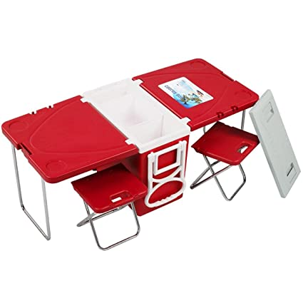 Folding Picnic Table.Multi Function Rolling Cooler Picnic Camping Outdoor  W/ Table U0026 2