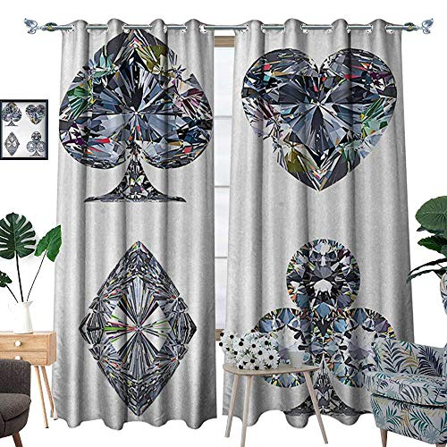 (RenteriaDecor Diamond Window Curtain Drape Playing Cards Diamonds Hearts Clubs Spades Casino Theme Charm Art Graphic Design Decorative Curtains for Living Room W96 x L84 White Silver)