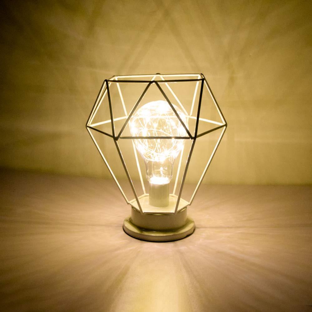 Diamante L/ámpara de cabecera Nordic Iron Wire L/ámpara de mesa Luz de noche decorativa de metal USB Luces LED Bater/ía de escritorio operada con pilas Blanco c/álido White