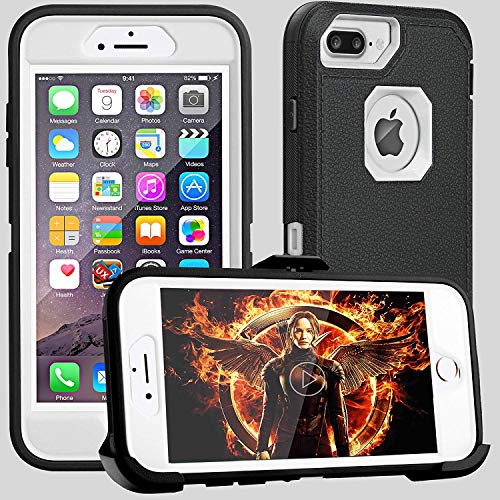 iPhone 8 Plus Case,iPhone 7 Plus Case,iPhone 6s Plus Case,FOGEEK Belt-Clip Protective Heavy Duty Kickstand [Shockproof] Cover Compatible for iPhone 8/7/6/6s Plus(Black and White)