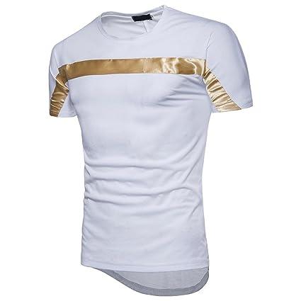 Camiseta Hombre de Verano ❤️Amlaiworld Moda Hombres Blusa de manga corta  Fit Pullover Camisa Patchwork 39e9ae931d627