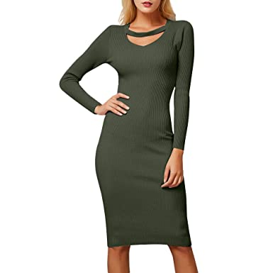 62ad5a940bb Xinantime Pull Femme Robe Tricot Elégante Femmes Hiver Robe Sexy Manches Longues  Robe Pull en Tricot