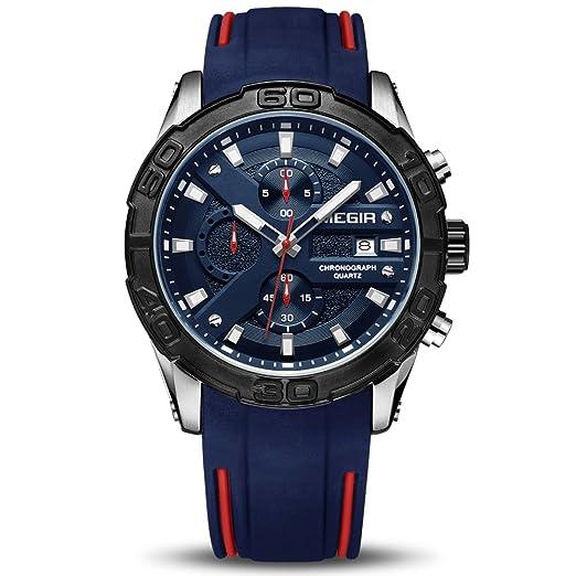 Megir Relojes para Hombre Elegante Casual Ejército Militar Cronógrafo Negocios Deporte Trabajo Cuarzo Reloj de Pulsera: Amazon.es: Relojes