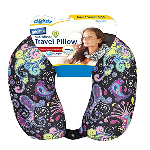 Cloudz Patterned Microbead Travel Neck Pillows - Black Ground