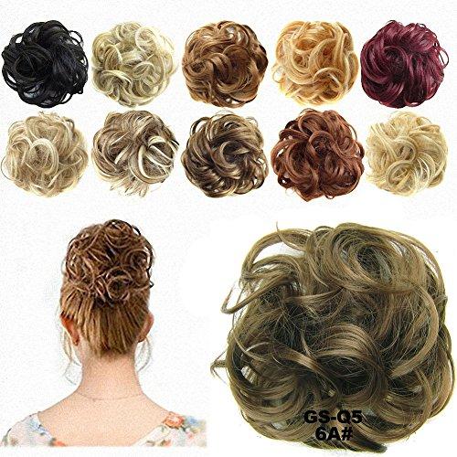 FESHFEN Scrunchy Scrunchie Hair Bun Updo Hairpiece Ponytail Extensions Hair Extensions Wavy Curly Messy Hair Bun Extensions Donut Hair Chignons Hair Piece Wig-6A#