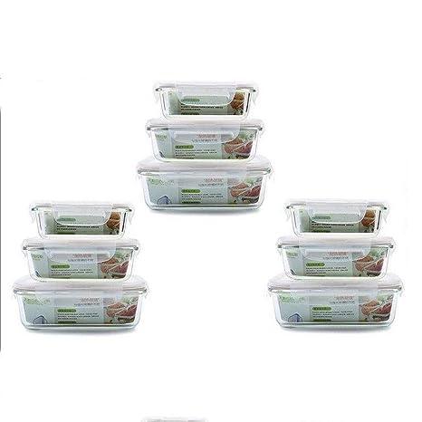 Amazon.com: Caja de almuerzo de cristal, 10 juegos de horno ...