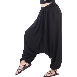 c5d42c899ef CandyHusky Men Women Elastic Baggy Hippie Boho Gypsy Aladdin Yoga Harem  Pants