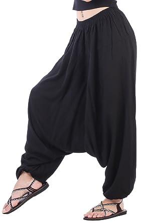 c3f72c6094 CandyHusky Men Women Elastic Baggy Hippie Boho Gypsy Aladdin Yoga Harem  Pants (Black)