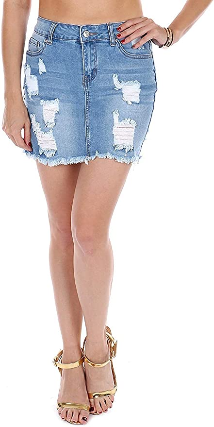 Wax Distressed Skirt Fashion Washed High Waist Heels Denim Jeans Skirt For Summer Denim, Large