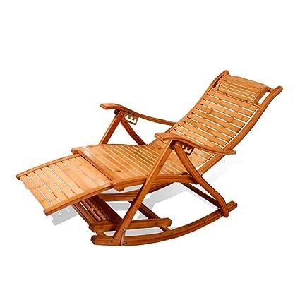 Amazon.com: XEWNEG Bamboo Folding Rocking Chair Lounge Chair ...