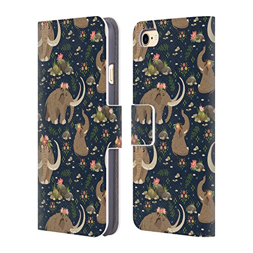 Official Julia Badeeva Mammoth Animal Patterns Leather Book Wallet Case Cover for iPhone 7 / iPhone -