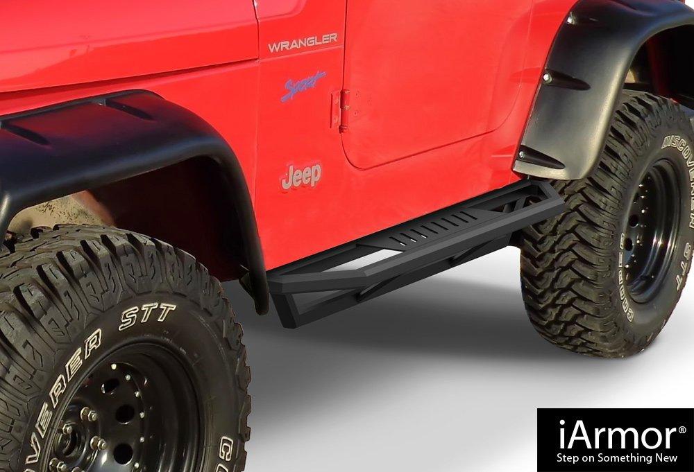 AMS Jeep Off-Road Side Steps Armor Custom Fit 1987-2006 Jeep Wrangler Sport Utility 2-Door iBoard By APS