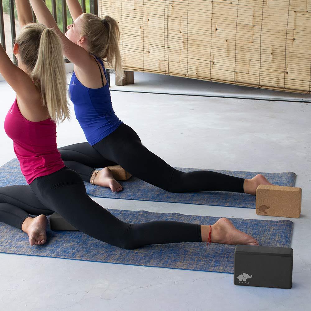 A-FTNSS Yoga Juego 2 Blocks y Correa Espuma Respetuoso con el Medio Ambiente Fácil griffig Fitness Pilates Principiantes y avanzados