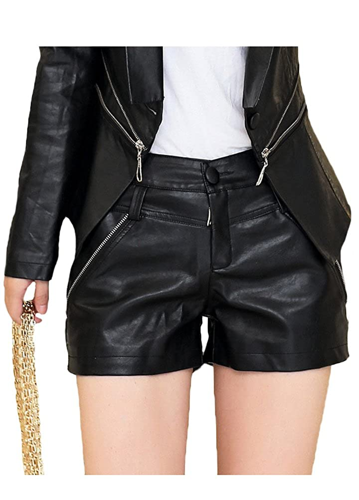 b989447a Top3: Minibee Women's Sexy Faux Leather Shorts with Zipper and Pocket