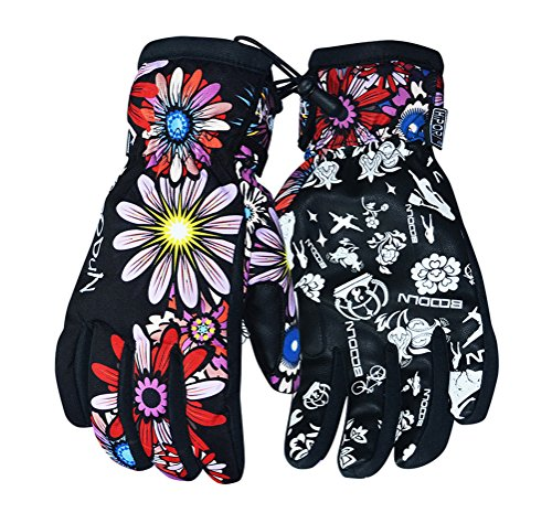 Timeiya Skiing Gloves for Waterproof,Cold-proof,Windproof Winter Warm Gloves Flowers (Ladies Winter Wetsuit)