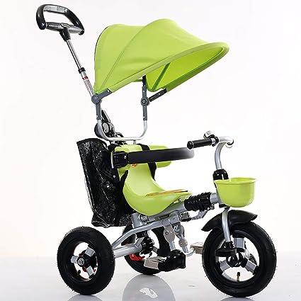 Aocean Triciclo Plegable Bicicleta Bebe Evolutivo Bicicleta para Bebes Evolutivo con Parasol y Putter 1-6 año Tricilo para niños Plegable con Cubierta de Lluvia, Green: Amazon.es: Deportes y aire libre