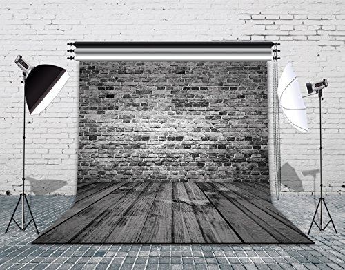 LB Black Brick Wall Background for Photography 10x10ft Vinyl Wood Floor Photography Backdrops for Wedding Smash Cake Birthday Party Portraits Photo Booth Backdrop by LB