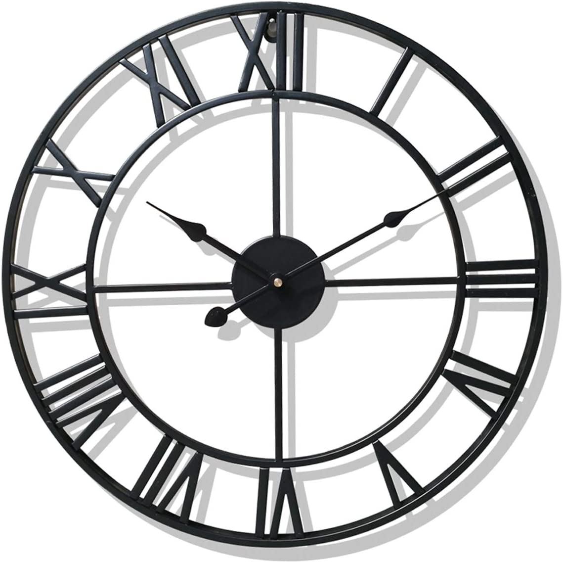 Kimdio Wall Clock, European Retro Clock with Large Roman Numerals, Indoor Silent Battery Operated Metal Clock for Home, Living Room, Kitchen and Den - 16 Inch (Classical Black)