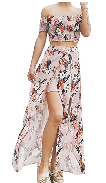 2debcb1a1 Jaycargogo Women's Summer Floral Print Crop Top Split Maxi Skirt 2 Piece  Set at Amazon Women's Clothing store:
