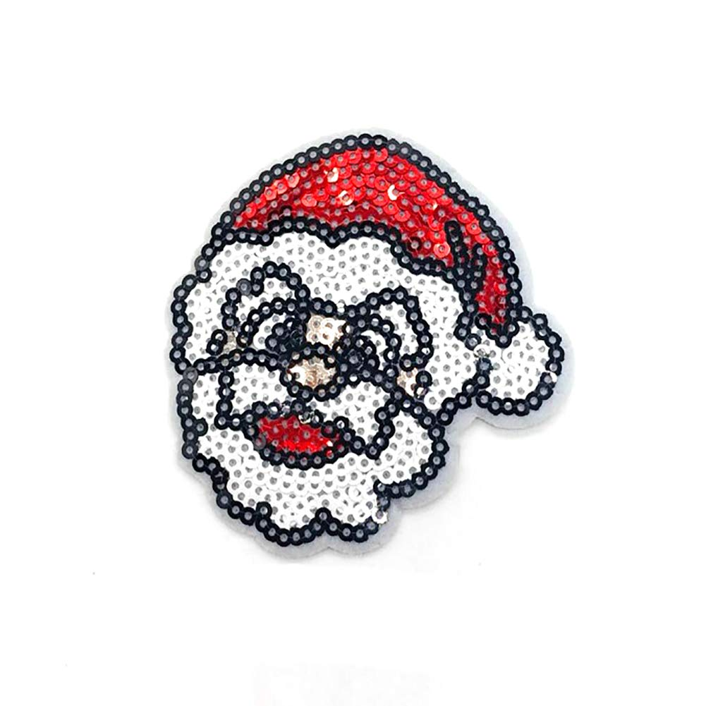 YaptheS 1PC Christmas Sew-on Or Iron-on Patch Santa Embroidered Patches Sequin Applique DIY Clothes Accessories(Santa Claus-A) Christmas Style