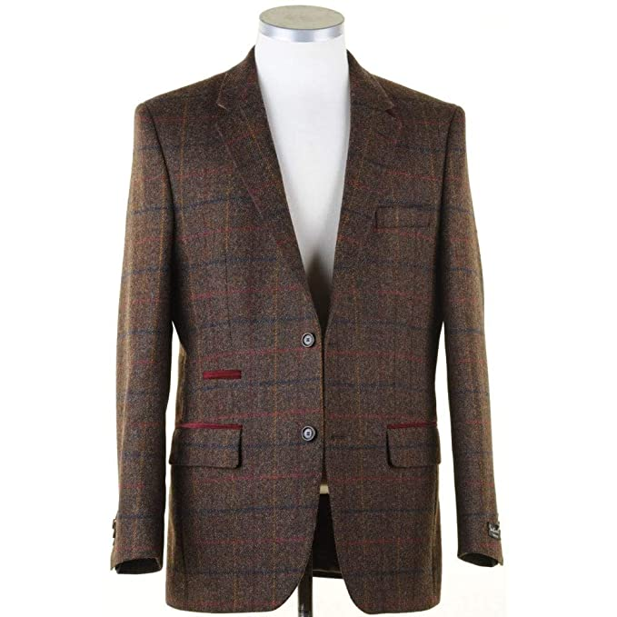 b62635237a63 SANTINELLI Pure Wool Brown Tweed Jacket in a Moon Shetland Style Cloth 44  Brown/Short: Amazon.co.uk: Clothing
