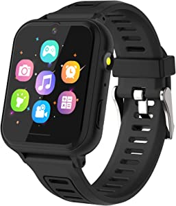 Kids Smart Watch, Game Smartwatches HD Touch Screen Smartwatch with Camera Video Alarm Clock Record Music Player Calculator Wrist Watch Smartwatch for 4-12 Years Old Boys Girls Birthday Gift(Black)