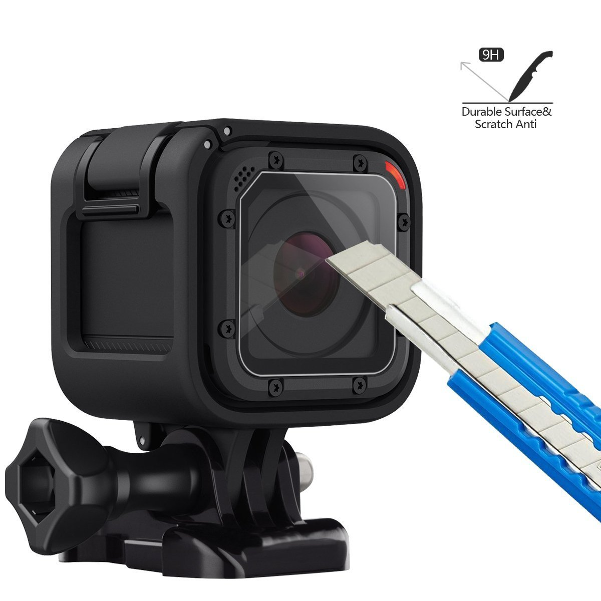 MyArmor Ultra-Clear Tempered Glass Screen Protector 0.33mm Hard Scratch-resistant Camera Lens Film (Pack of 3) with Soft Microfiber Cleaning Cloth for GoPro Hero 4/5 Session Camera
