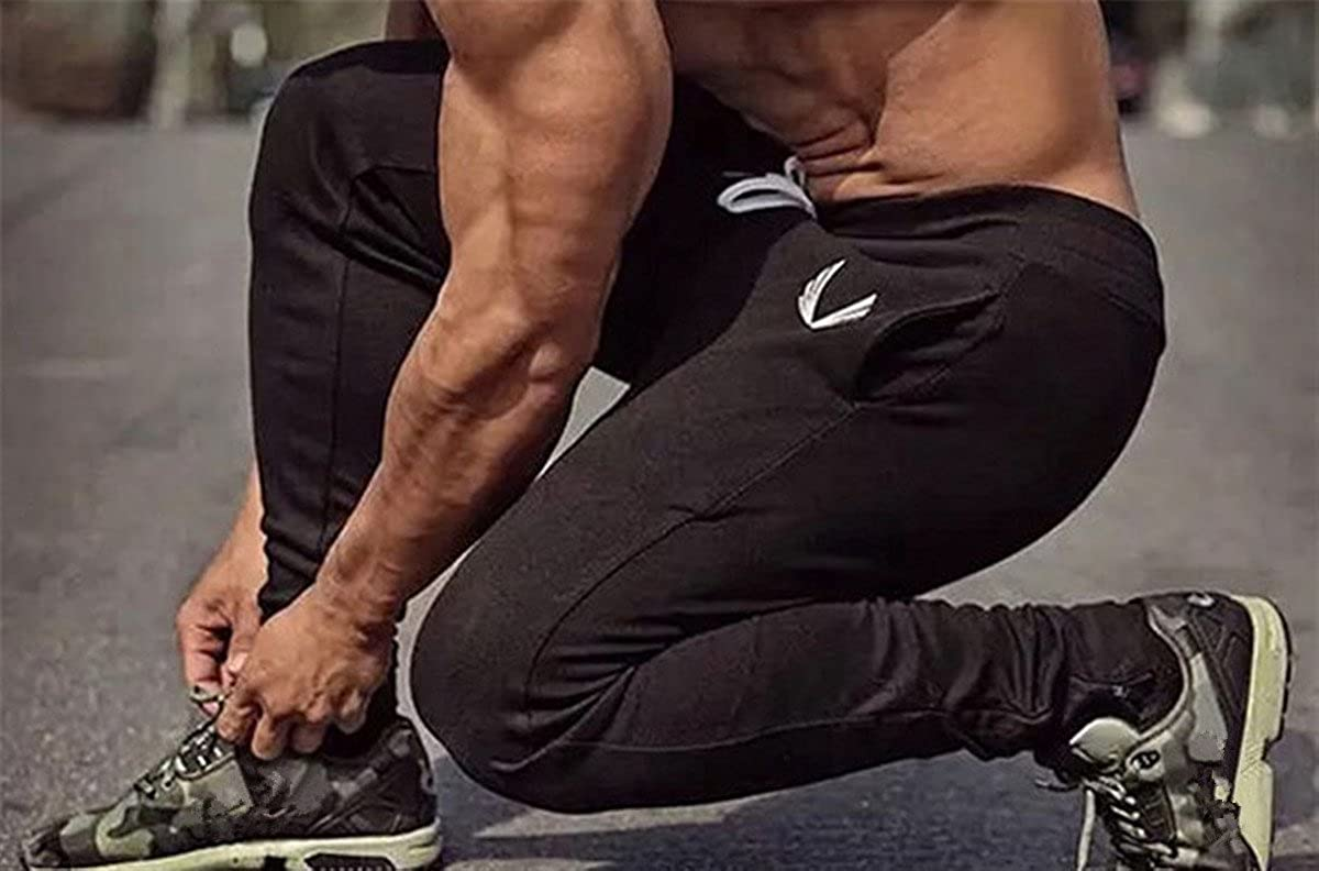b87ddbe0e3685 BININBOX Men's Fitted Shorts Bodybuilding Workout Gym Running Casual Jogger  Pants Trousers Sweatpants Bottom Zipper