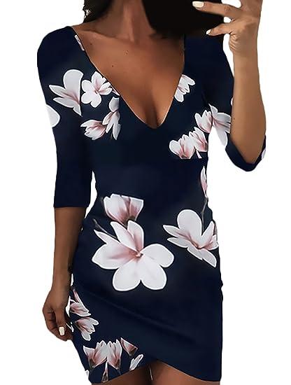 Mini Vestido Mujer Elegante Vestido Verano Mangas 3/4 V Cuello Niñas Ropa Espalda Descubierta