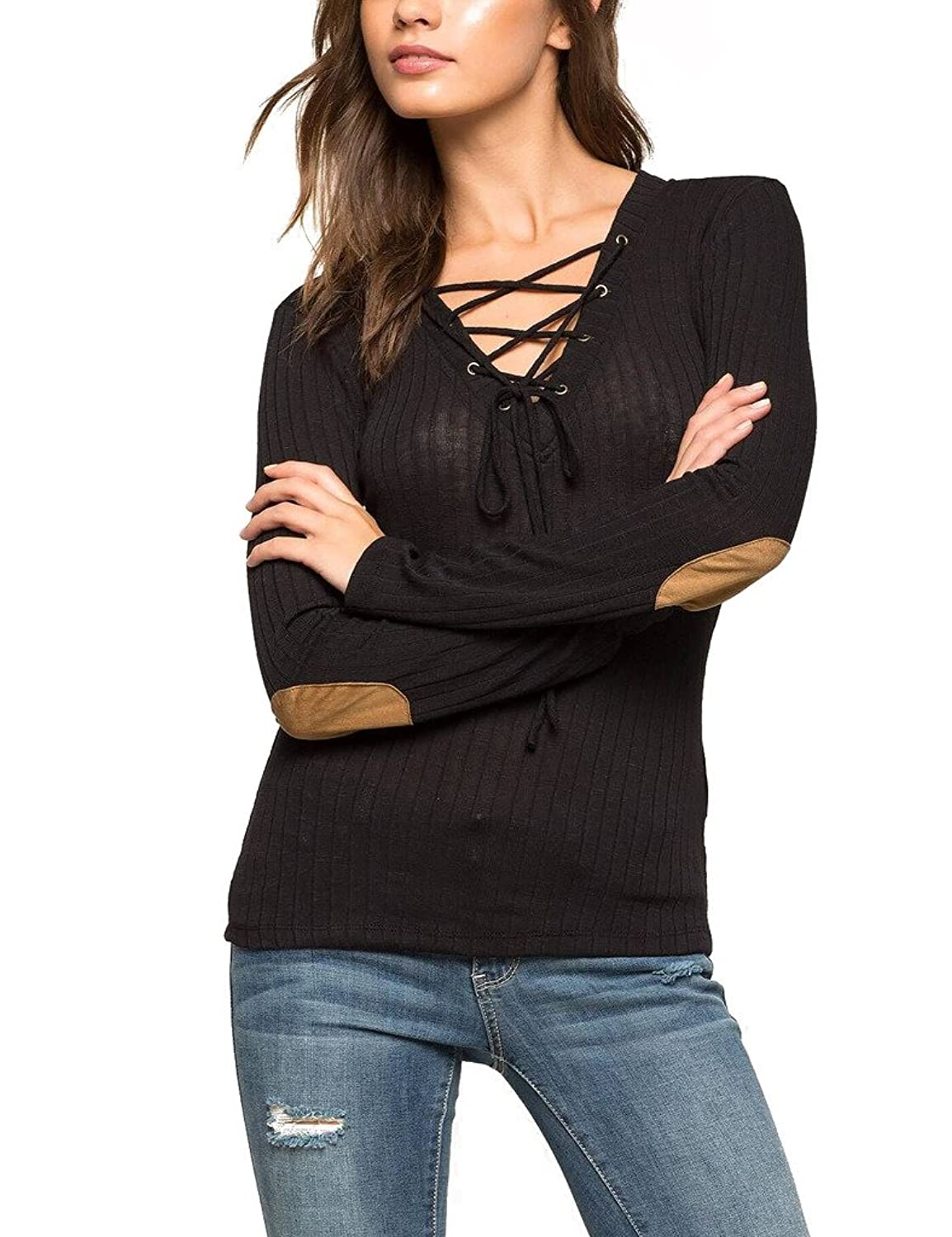 Choco Mocha Women's Sexy Bandage Fashion Elbow Patch Knitted Sweaters