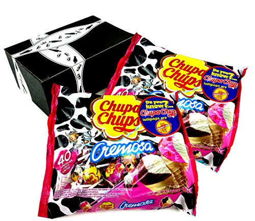 Chupa Chups Cremosa Ice Cream Lollipops, 16.93 oz Bags in a BlackTie Box (Pack of -
