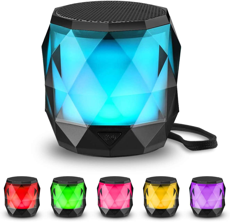 LED Bluetooth Speaker,LFS Night Light Wireless Speaker,Untra Mini Speaker,Diamond Shape Portable Wireless Bluetooth Speaker,Multi-Colored auto-Changing RGB LED Themes,Handsfree TWS Supported