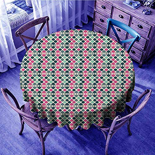ScottDecor Novelty Fabric Tablecloth Retro 60s Home Design Inspired Geometrical Shapes and Dots Restaurant Round Tablecloth Fern Green Hot Pink and Pale Pink Diameter 50
